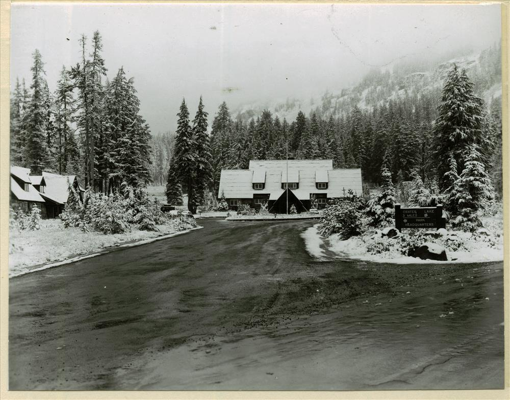 Administration Bldg. from park road in Crater Lake NP,  August 1960 Jack Boucher