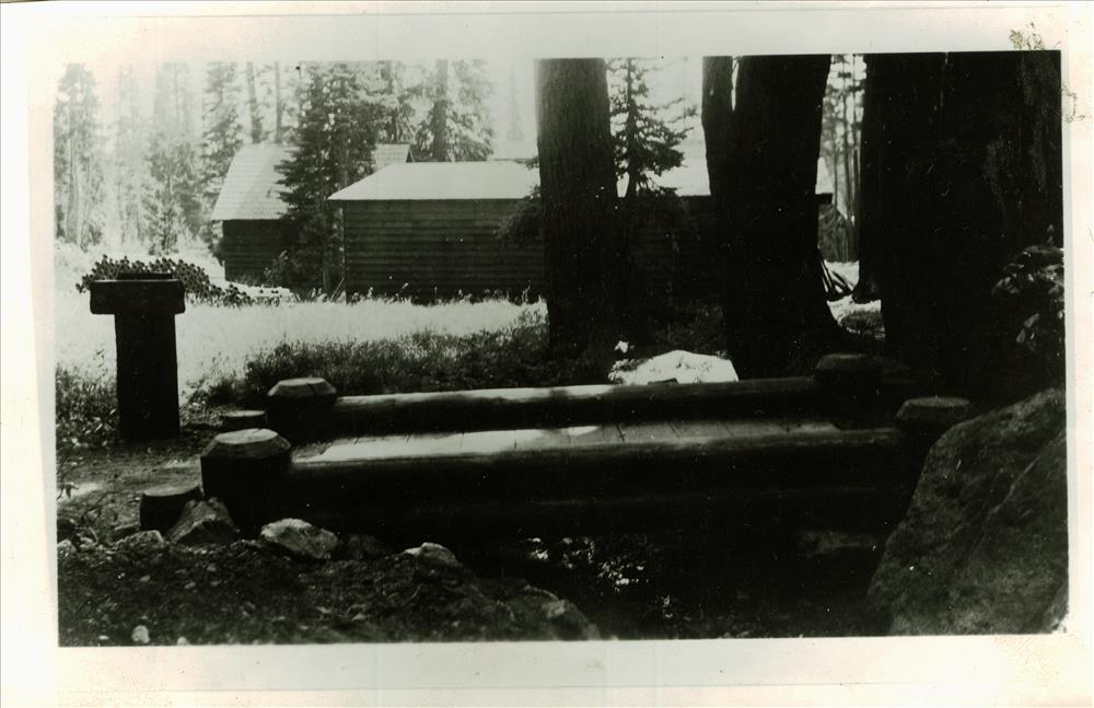 Bridge and sign on the trail to Lady of the Woods in Crater Lake NP, circa 1937 Francis Lange
