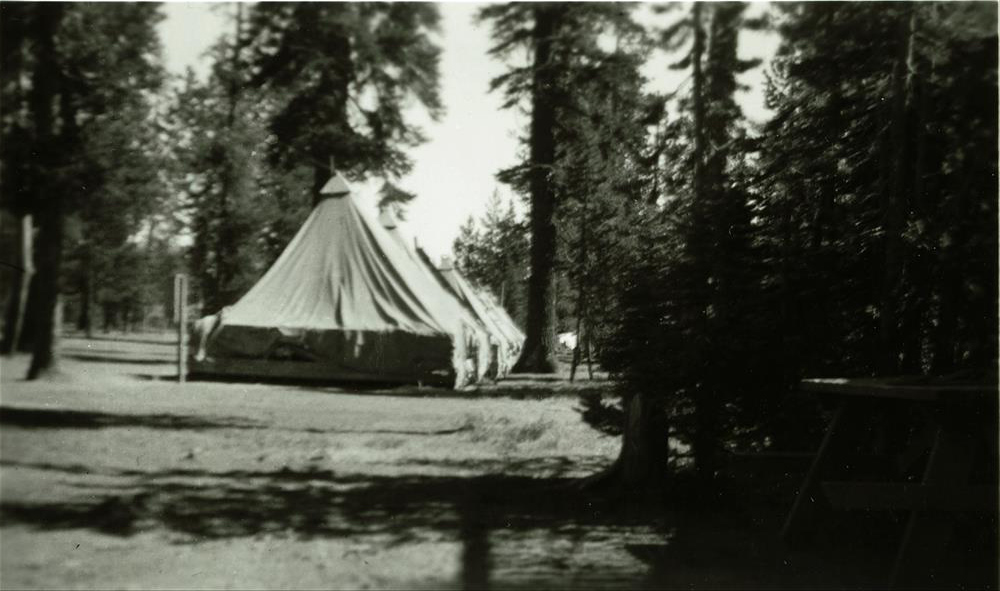 CCC Camp tents at Annie Spring in Crater Lake NP, 1930s