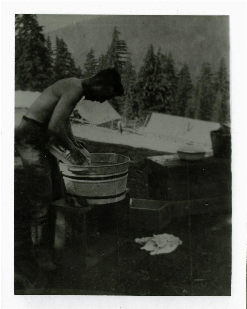 Camp scene - road survey in Crater Lake NP, 1918 GV Robinson