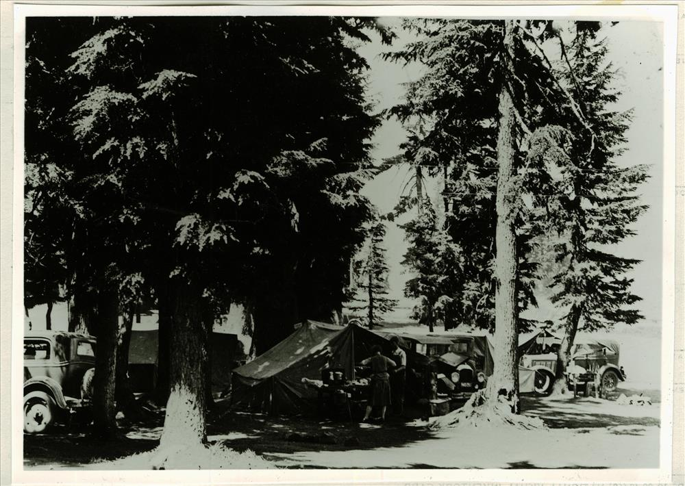 Campers at Rim Village campground in Crater Lake NP, circa 1931, now picnic area, Francis Lange