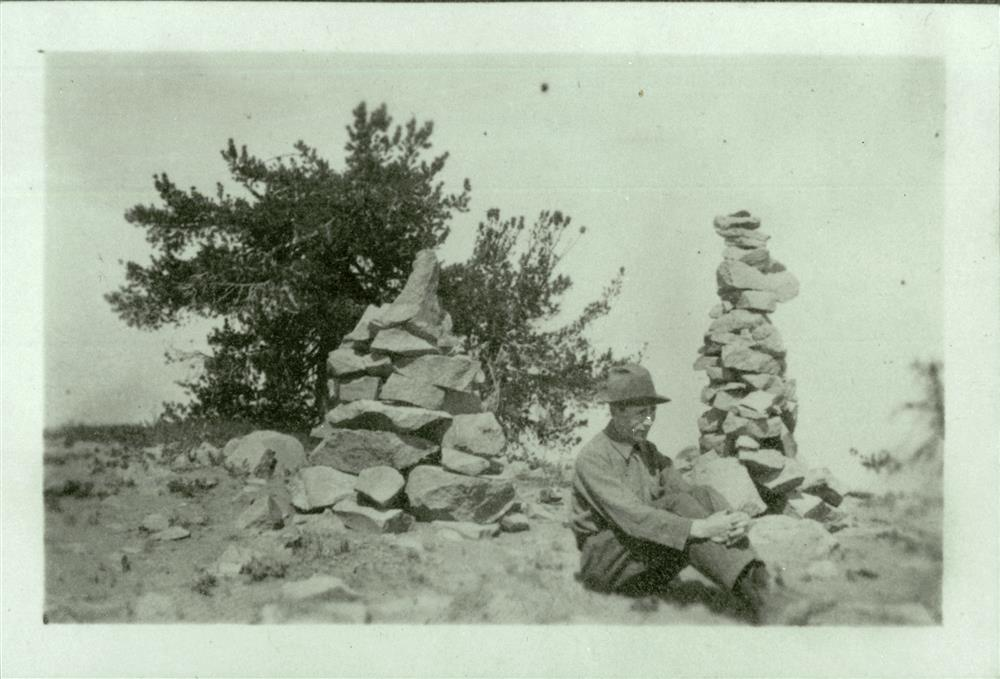 Carin's on top of what might be Garfield Peak in Crater Lake NP, circa 1915 Parkhurst Collection