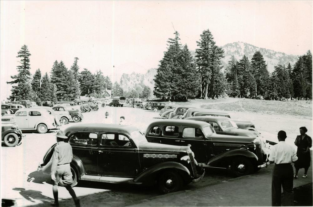 Cars in Rim Parking area in Crater Lake NP, 1936