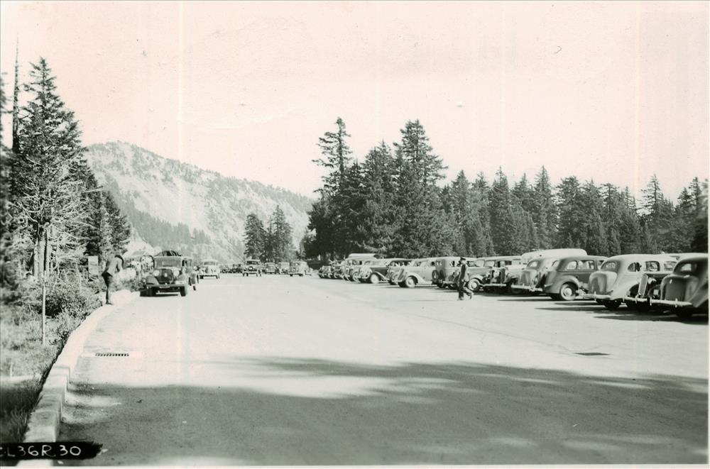 Cars in Rim parking area in Crater Lake NP, 1936 2