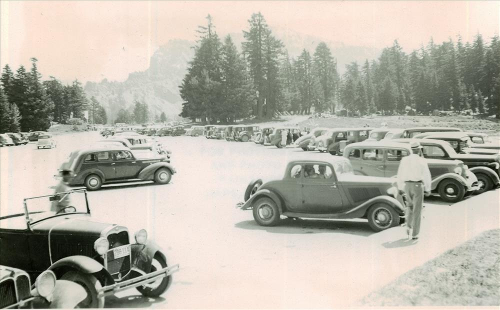 Cars in the Rim parking area in Crater Lake NP, circa 1936