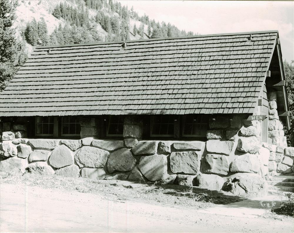 Comfort Station Sign Shop in Crater Lake NP, 1941 Grant