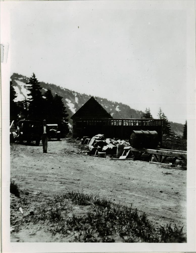 Comfort Station east of lodge built 1921 in Crater Lake NP, circa 1925 NPS scrapbook collection