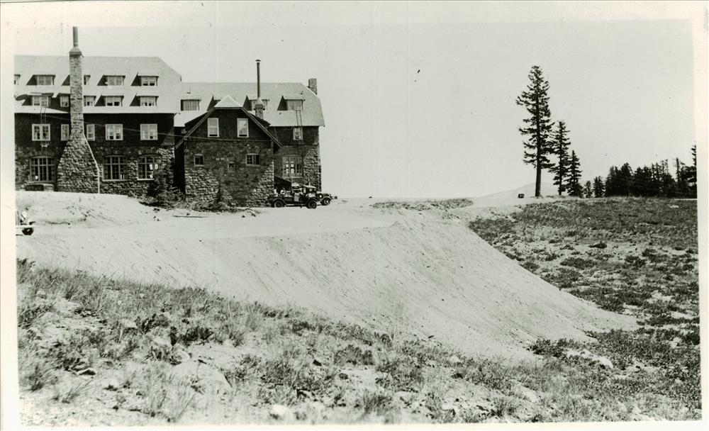 Construction of parking area adjacent to Crater Lake Lodge, circa 1934