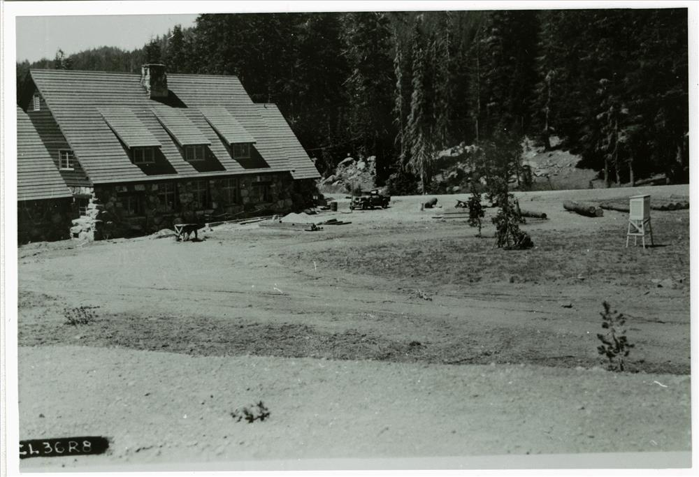 Construction of parking lot behind Administration Building in Crater Lake NP, circa 1936