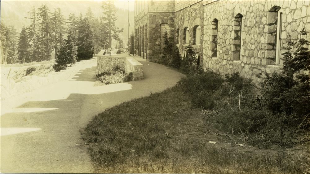 Crater Lake Lodge, back porch in Crater Lake NP, 1934