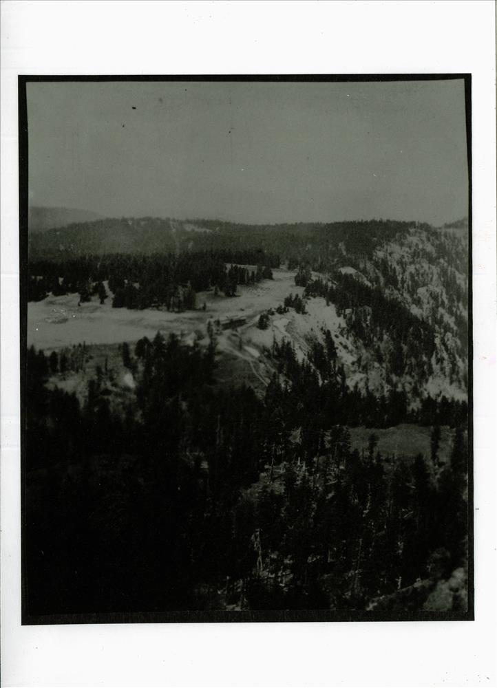 Crater Lake Lodge from Garfield Peak, 1915 View shows alignment of new (Corps of Engineers) road leading to Rim Village from south and area of future plaza