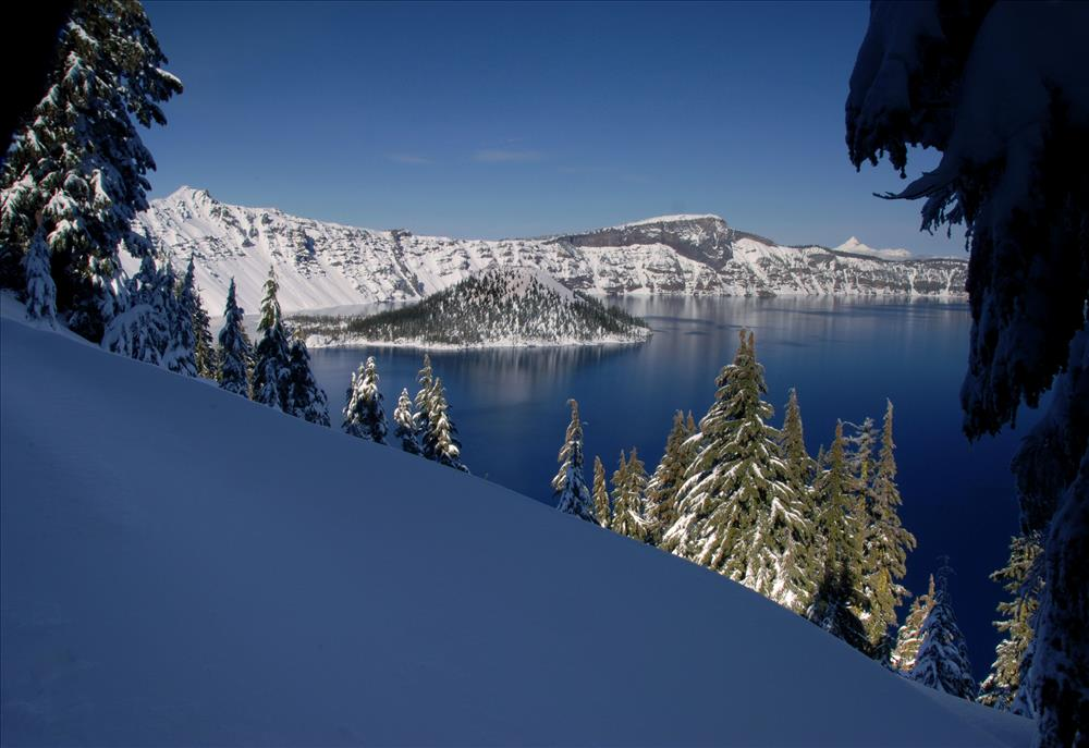 Crater Lake NP in Winter, November 2009 from lodge area, Dave Harrison