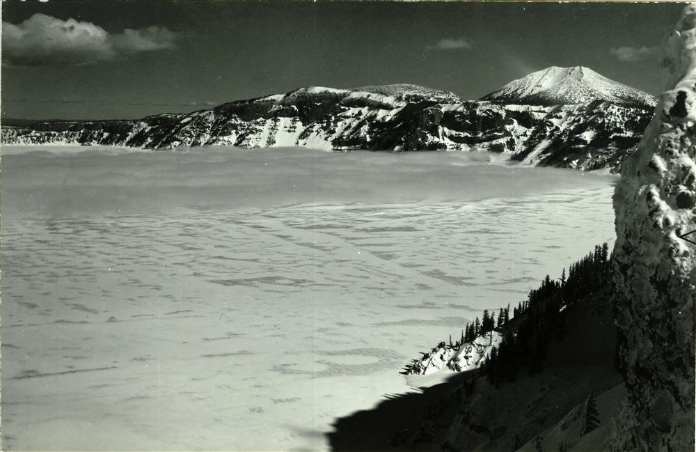 Crater Lake frozen over, January 1949