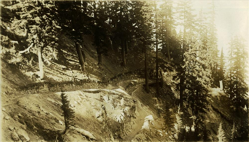 Crater Wall Trail, used from 1928 to 1959, in Crater Lake NP switchback