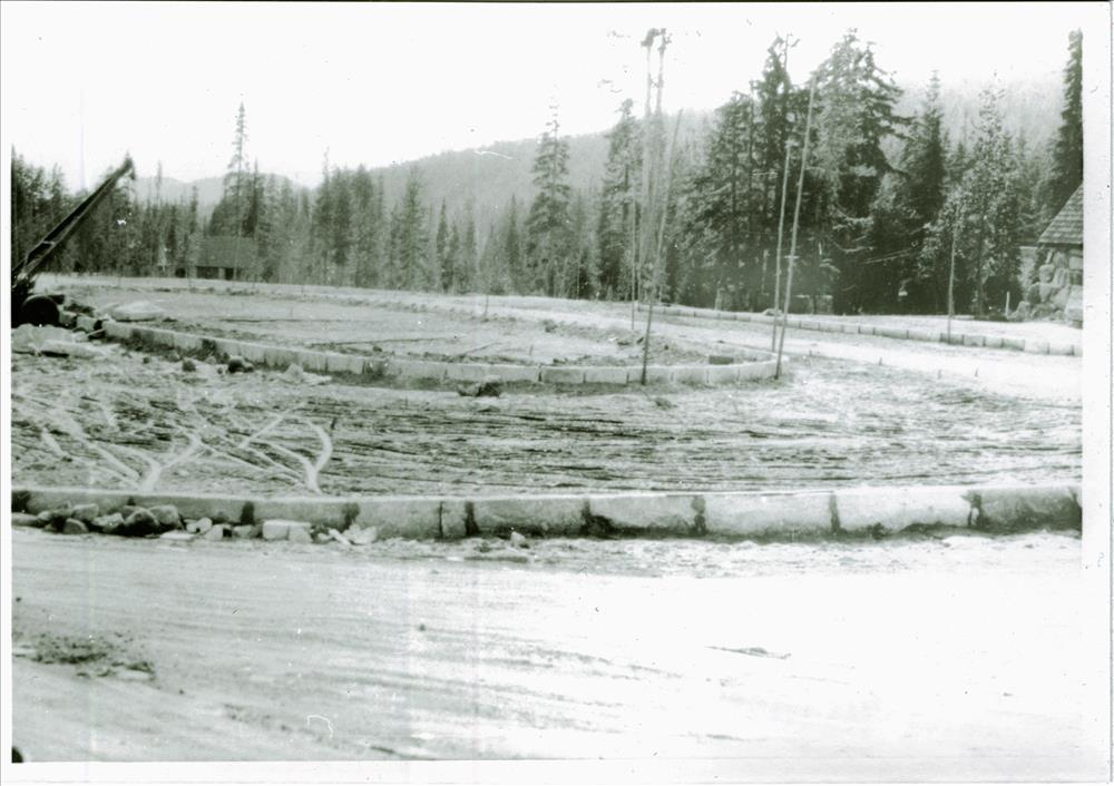 Curbstone to define roadway in the administration plaza in Crater Lake NP, 1934