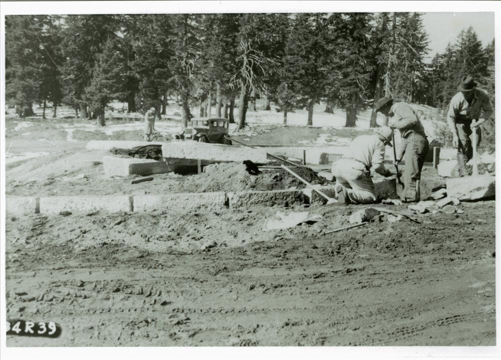 Curbstone to delineate parking area near lodge in Crater Lake NP, 1934