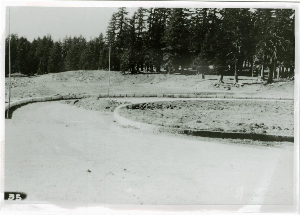 Curbstone to delineate roadway near the lodge in Crater Lake NP, circa 1934