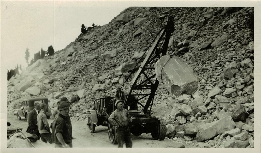 Cutting stone for curbing and rock parapets in Crater Lake NP, circa 1931 possible CCC project