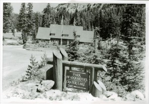 Directional sign at Headquarters in Crater Lake NP, circa 1952