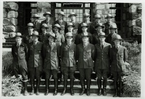 Entire Ranger Force in Crater Lake NP, 1941 front of Ad Bldg