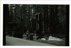 Entrance Sign in Crater Lake NP, 1960 Guy Hartell collection