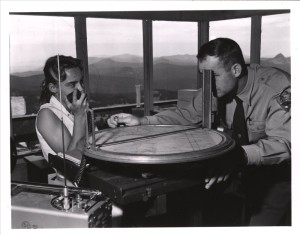 Fire Lookout and wife at work  Watchman fire lookout, photo by Jack Boucher Aug. 1960