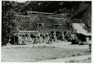Framing the roof of the Administration building in Crater Lake NP, circa 1934