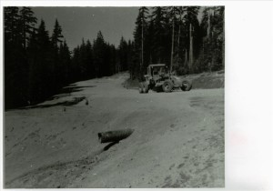 Grading of Cleetwood Cove parking area in Crater Lake NP, 1963 2