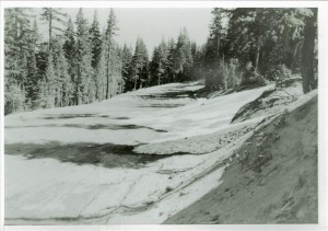 Grading of Cleetwood Cove parking area in Crater Lake NP, 1963