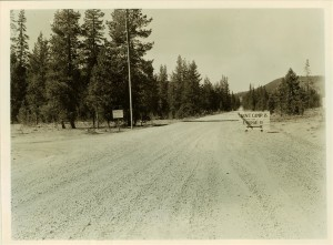 Graveled East entrance road in Crater Lake NP, 1930s