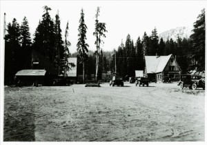 Headquarters area in Crater Lake NP before relocation of road, circa 1927