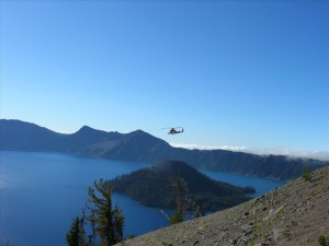 Helicopter over Wizard Island in Crater Lake NP, 2010
