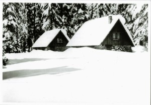 Houses 31 and 32 (built 1928 and 1929 respectively) in snow before construction of building 33 (garage) in Crater Lake NP, 1933