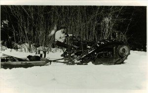 Ike Davidson and early version of Sno-cat in Crater Lake NP, circa 1930