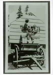 In the Mess Wagon built for feeding crews that built the old rim drive in Crater Lake NP, 1917 Parkhurst collection