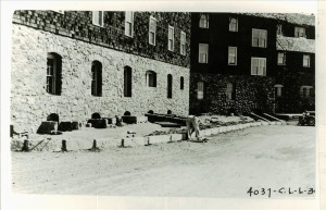 Installation of curbstone at the Crater Lake Lodge Rim Village Francis G. Lange 1934