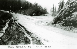 Intersection of old Rim road and new Rim Road along segment 7-B in Crater Lake NP, 1935 possibly Frances Lange