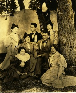 Ivan D. Applegate Family, Mt Mazama Celebration, tow row l-r, Alice A. Morey Al, Eda A. center Margaret A, Ivan A, bottom, Jessie A, Lena A