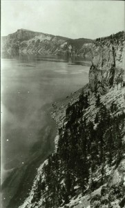Lake and shoreline in Crater Lake NP (date unknown) probably near Wineglass, Parkhurst photo probably