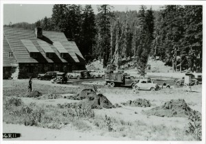 Landscape work after construction of parking lot behind Administration Building in Crater Lake NP, 1936
