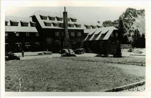 Landscaping in front of Lodge in Crater Lake NP, circa 1935 Frances Lange