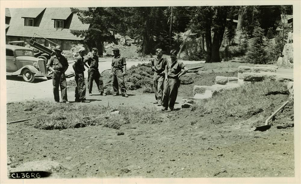 Landscaping the area around the Administration Buildings in Crater Lake NP, 1936 CCC project
