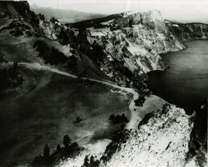 Llao Rock and the viewpoint between Watchman and Hillman Peak in Crater Lake NP (date unknown)