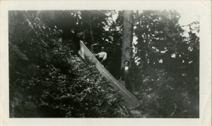 Lowering row boat Dewey Huffman built at camp about 1.5 miles from Rim Lower - Dewey Huffman Upper - Judge Short photoMary Short August 1908 Gift Blanche Huffman