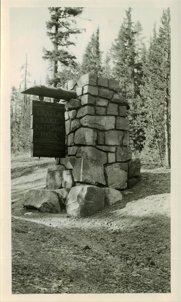 North Entrance Motif - North Side, CCC Project, Crater Lake NP, 1937