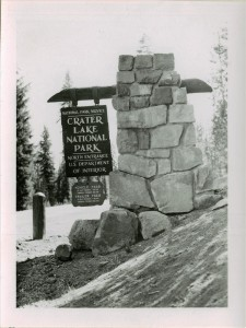 North Entrance Sign and Entrance Fees in Crater Lake NP, 1953 Packard