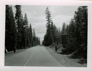 North Entrance Sign in Crater Lake NP, 1953