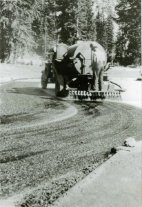 Oiling a road near Park Headquarters in Crater Lake NP (date unknown)