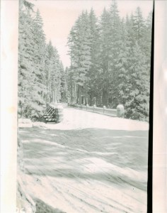 Old Goodbye Bridge (replaced in late 1950's) in Crater Lake NP, 1939 between Annie Springs and HQ