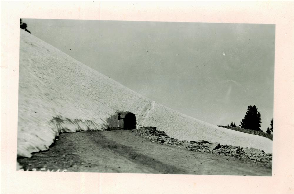 Old Rim Road tunneled by the CCC's at the Watchman in Crater Lake NP, circa 1933